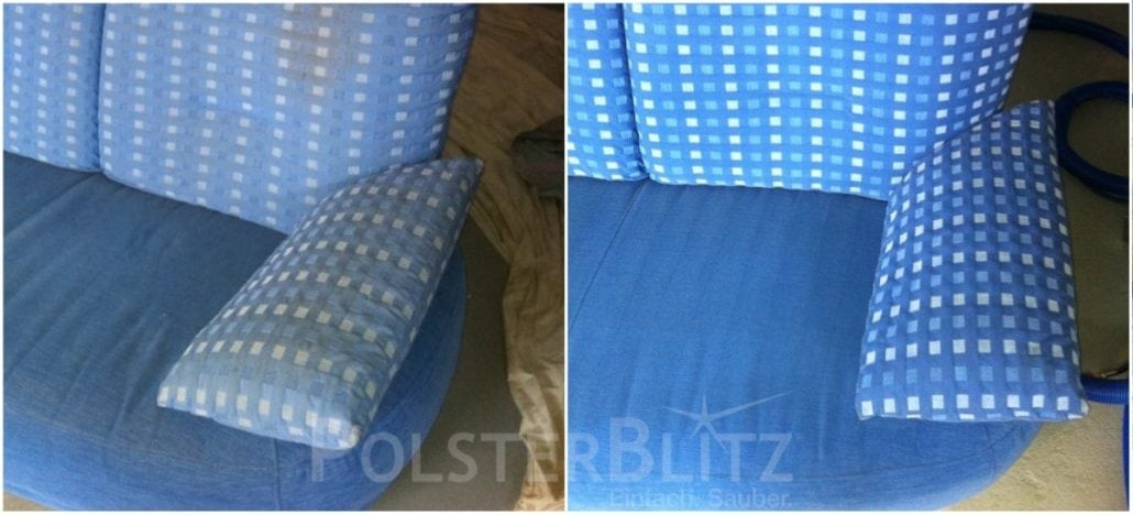 Vorher-Nachher Bild Polsterreinigung blau Sofa