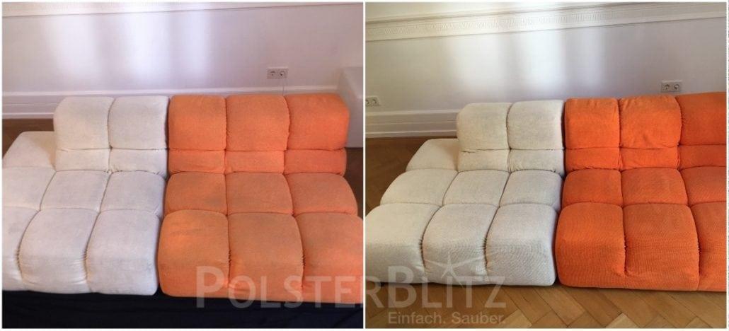 Vorher-Nachher Bild Polsterreinigung bunte Couch