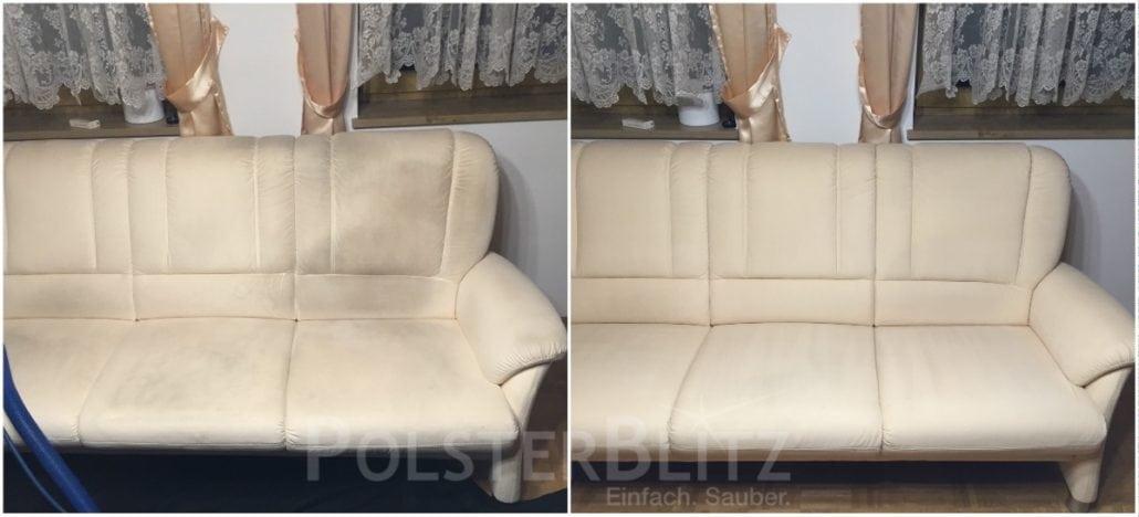 Vorher-Nachher Bild Polsterreinigung weiß Sofa
