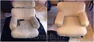 Vorher-Nachher Bild Polsterreinigung weiß Sessel mit Muster