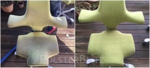 Vorher-Nachher Bild Polsterreinigung grün Stuhl