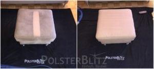 Vorher-Nachher Bild Polsterreinigung weiß Hocker