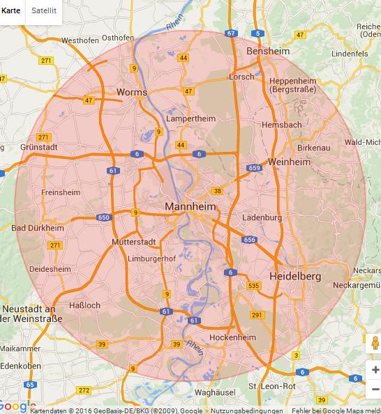 Karte Mannheim