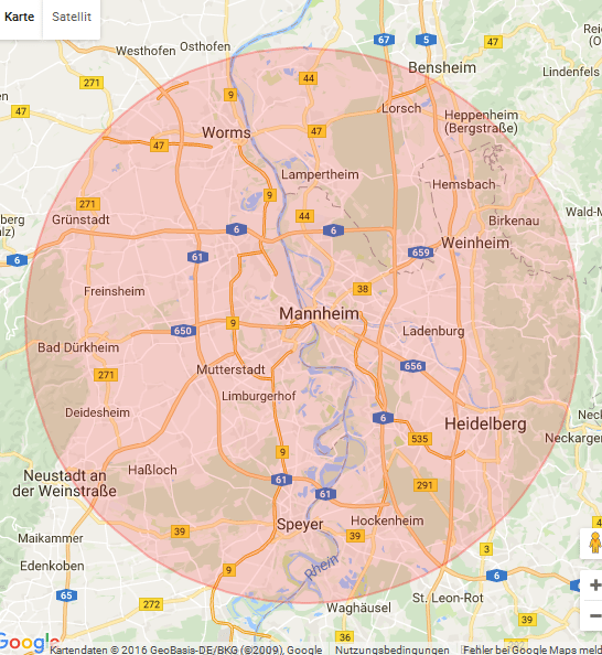 Karte Ludwigshafem