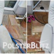 Vorher-Nachher Bild Polsterreinigung weiß Sessel