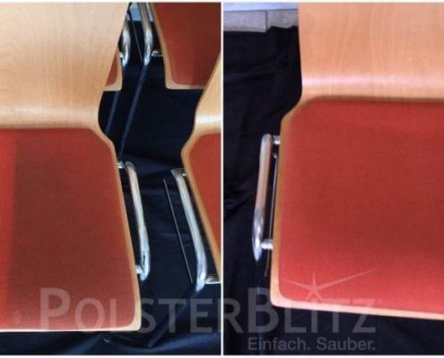 Vorher-Nachher Reinigungsbeispiel Stuhl rot