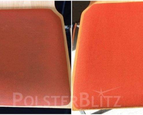 Vorher-Nachher Reinigungsbeispiel Stuhl orange