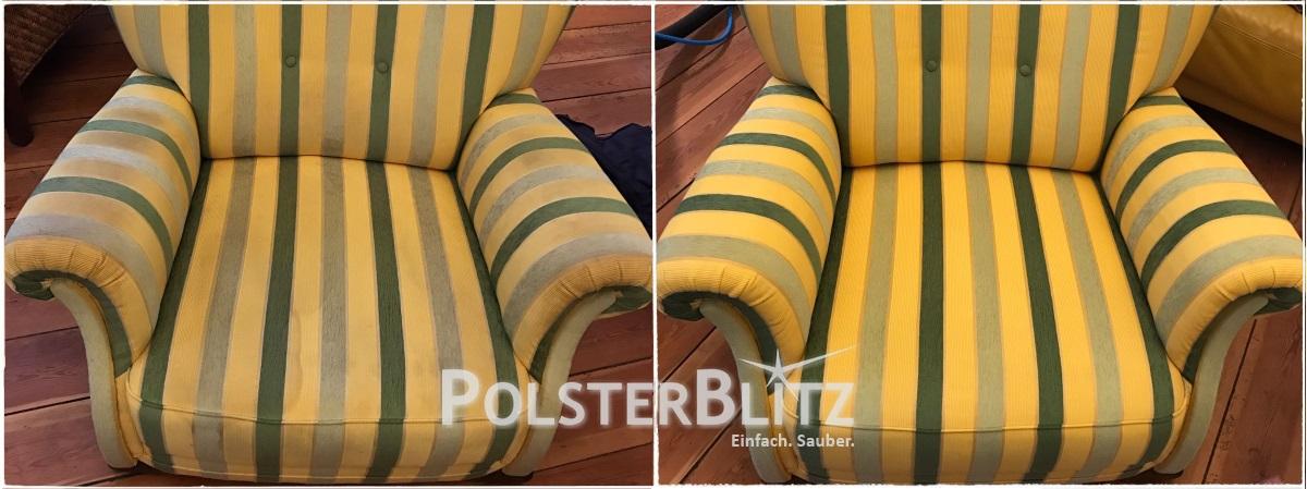Vorher-Nachher Reinigungsbeispiel bunt Sessel