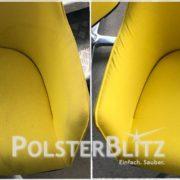 Vorher-Nachher Reinigungsbeispiel gelb Sessel
