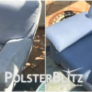 Blauen Sessel mit starker Verschmutzung gereinigt