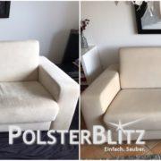 Sofa mit Flecken und Gebrauchsspuren gereinigt