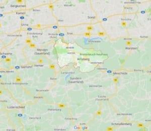 Karte Arnsberg Polsterreinigung Polsterblitz Einzugsgebiet