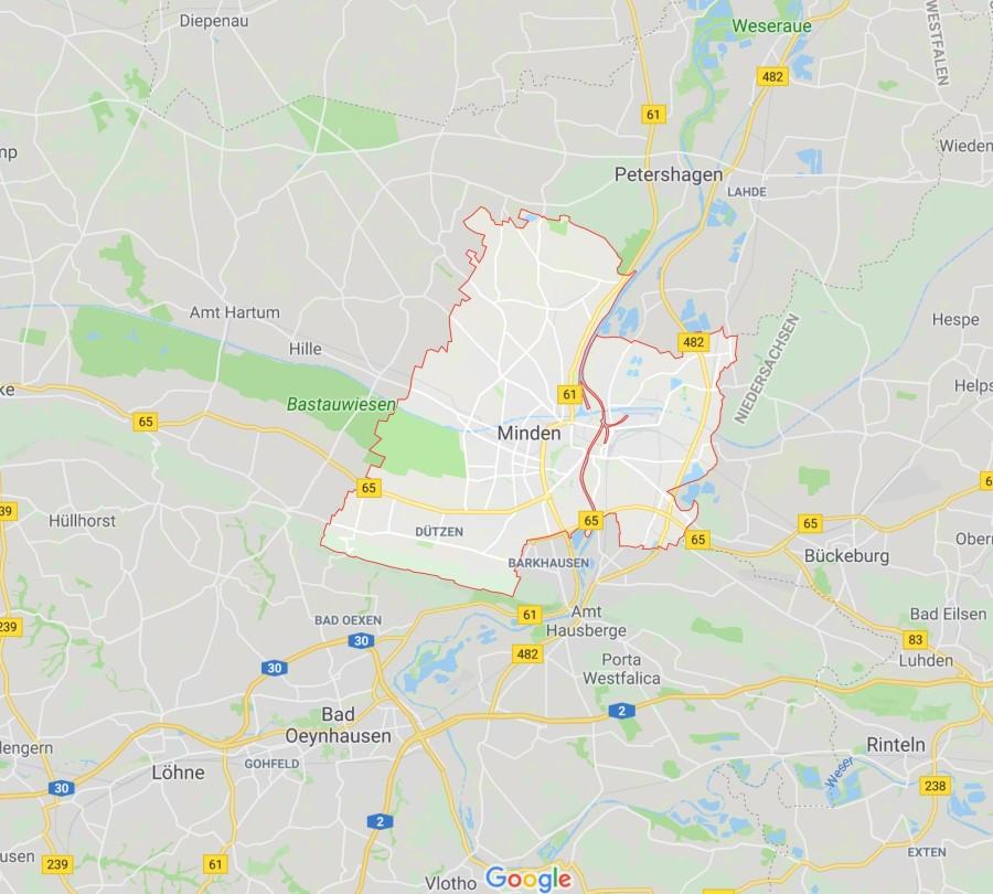 Karte Minden Polsterblitz
