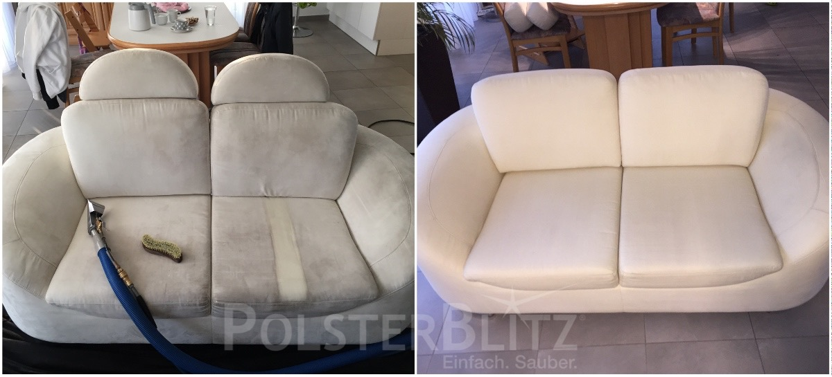 Vorher-Nachher Bild Sofa weiß verschmutzt gereinigt