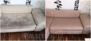 Vorher-Nachher Bild Sofa Couch gereinigt