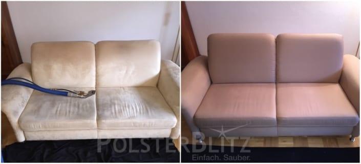 Vorher-Nachher Bild Sofa gereinigt
