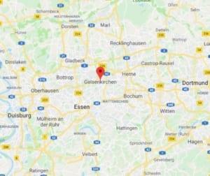 Karte Polsterreinigung in Gelsenkirchen - Polsterblitz Einzugsgebiet