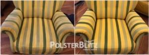 Vorher-Nachher Reinigungsbeispiel Sessel bunt
