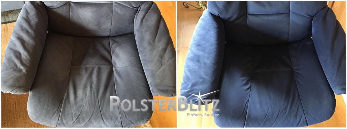 Vorher-Nachher Reinigungsbeispiel Sessel blau gereinigt
