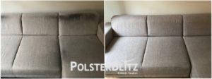 Vorher-Nachher Reinigungsbeispiel Couch in WG