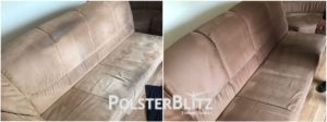 Vorher-Nachher Reinigungsbeispiel Sofa