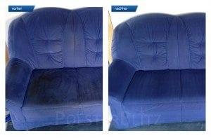 Vorher-Nachher Bild Polsterreinigung blaues Sofa