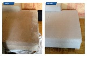 Vorher-Nachher Bild Polsterreinigung weiße Sitzecke