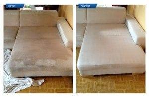 Vorher-Nachher Bild Polsterreinigung weiße Sitzecke Couch
