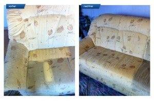 Vorher-Nachher Bild Polsterreinigung bunte Sitzecke