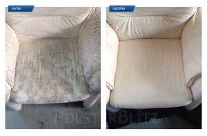 Vorher-Nachher Bild Polsterreinigung heller Sessel