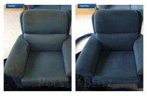 Vorher-Nachher Bild Polsterreinigung blauer Sessel